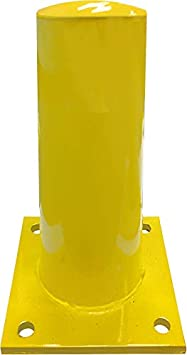 36 Height - 4.5 OD Electriduct 3 Feet Steel Pipe Safety Bollard Post Yellow//Black Stripe Parking Lot Traffic Barrier - Pack of 6