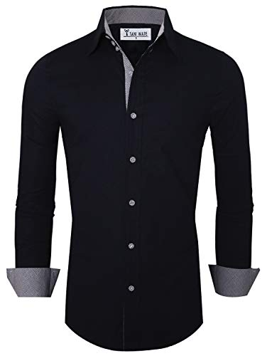 English Club - TAM WARE Mens Premium Casual Inner Contrast Dress Shirt TWNMS314S-NAVY-US XXL