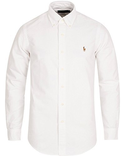 Button Down Long Sleeve Oxford Shirt - Polo Ralph Lauren Men's Long Sleeve Button Down Oxford Shirt (Large, White)