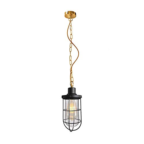 (WPOLED Simplicity Vintage E27 Industrial Nautical Fishermans Black Iron Metal Hanging Ceiling Lamp Glass Shade Pendant Light with Edison Filament Bulb 110V-240V)