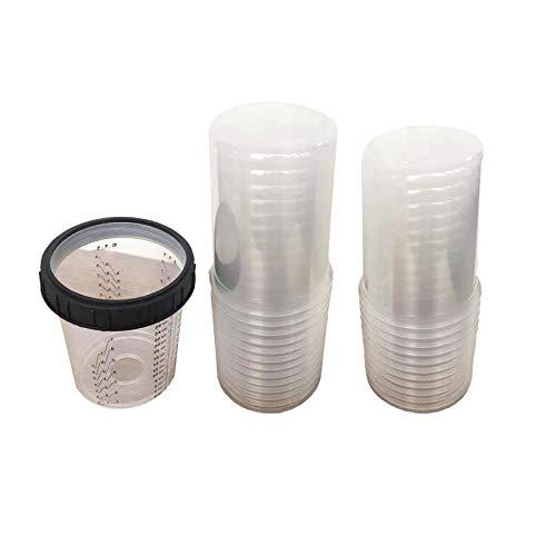 3P 제품 전체 상자 일회용 페인트 컵-50 뚜껑 50 라이너 25 플러그 1 하드 컵. (비교 3 메터 PPS16024)(27 온스-190 미크론 필터)