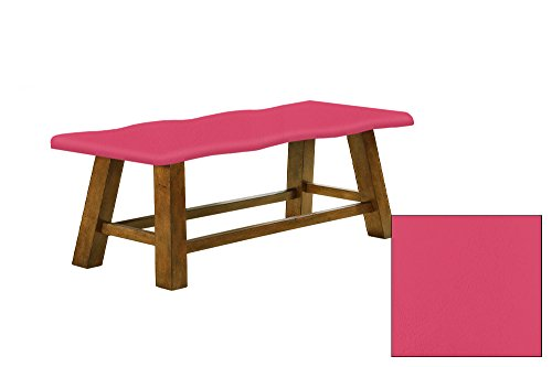 "Honey Oak 24"" Tall Counter Height Wavy Bench Featuring Your Choice of a Colored Vinyl Covered Padded Seat Cushion (Hot Pink) (Cushion Banquette)"