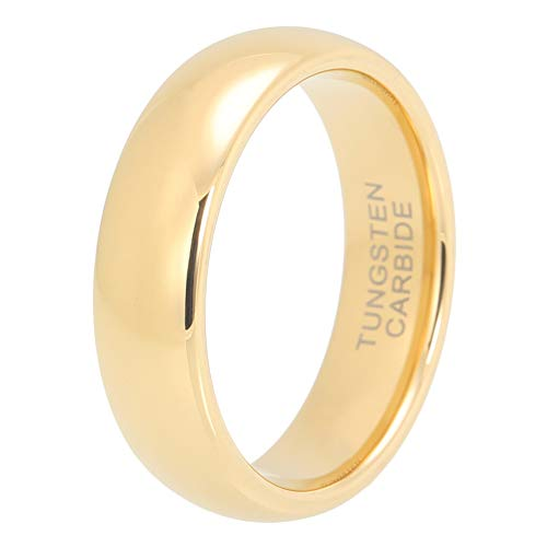 iTungsten 6mm 8mm Gold Tungsten Carbide Rings for Men Women Wedding Bands Domed Polished Comfort Fit (Gold Ring For Men Size 6)