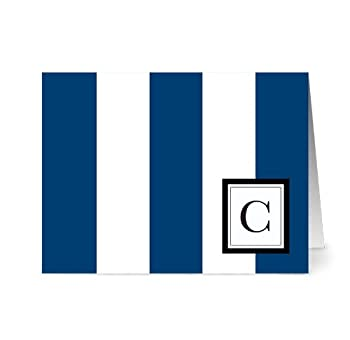 Modern Wide Stripe 'C' Navy Monogram - 24 Cards - Blank Cards w/ Grey Envelopes Included