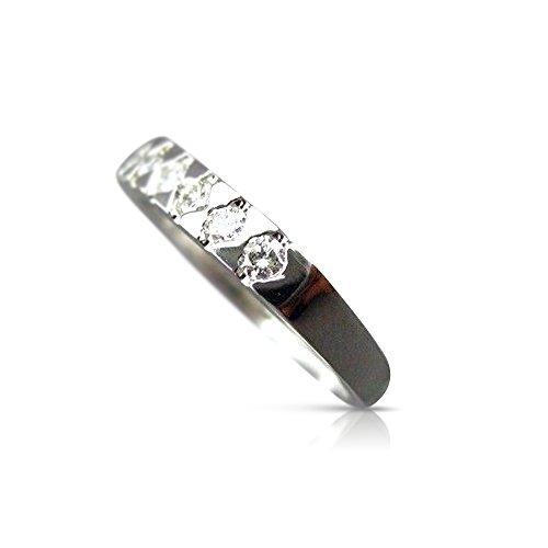 (Milano Jewelers .36CT DIAMOND 14KT WHITE GOLD 9 STONE SEMI BEZEL ANNIVERSARY RING #5456)