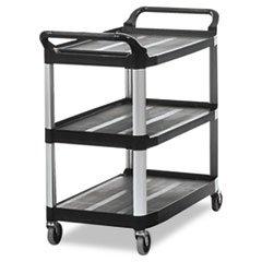 (6 Pack Value Bundle) RCP4091BLA Open Sided Utility Cart, 3-Shelf, 40-5/8w x 20d x 37-13/16h, Black -
