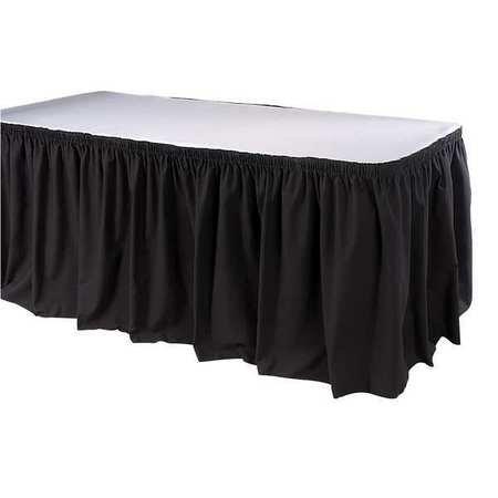 Table Skirting, 17-1/2 Ft., Shirred, Black