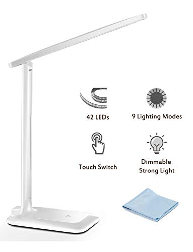 LED Desk Lamp, TopElek Eye-Caring Folding Desk Light, Dimmable Office Lamp with 9 Brightness, Touch Control, Warm/Cool White for Reading, Studying, Working, Perfect for Kids and Adults, White