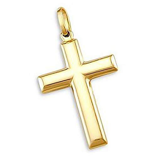 Sonia Jewels 14k Yellow Gold Cross Crucifix Pendant Charm Plain 1