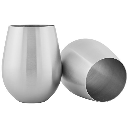 (HomeLife Solutions Stainless 18 oz Steel Stemless Wine and Cocktail Glasses Pack of 2)