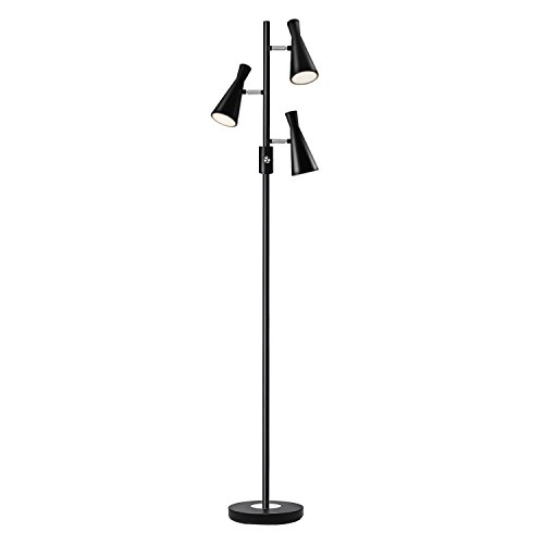 Sunllipe LED Floor Lamp with Three Lights 60 Inches Standing Tree Lamp for Living Rooms and Bedrooms- 15W Warm White(Conical-shaped)
