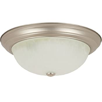 Sunlite DBN15/AL 15-Inch Dome Ceiling Fixture, Brushed Nickel Finish with Alabaster Glass