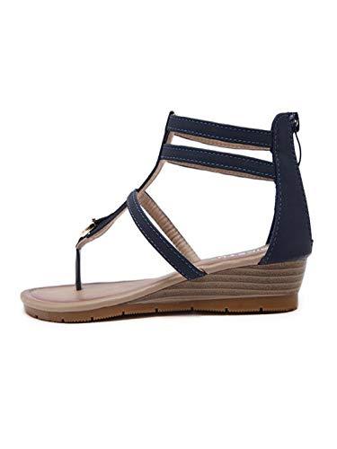 cca20bc0eb59 Amazon.com  Women Summer Wedge Sandals Leather Zipper Flip Flops Casual  Summer Spring Beach Shoes for Women   Girls  Sports   Outdoors