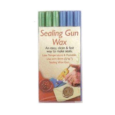 Manuscript Pen Sealing Gun Wax Stickers, Blue & Green, 6-Pack