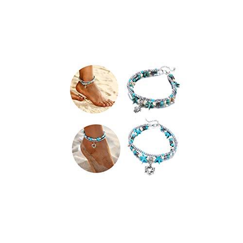 (ASHMITA Blue Turtle Ankle Bracelet Set Multilayer Beads Handmade Boho Beach Anklet Foot Jewelry Women)