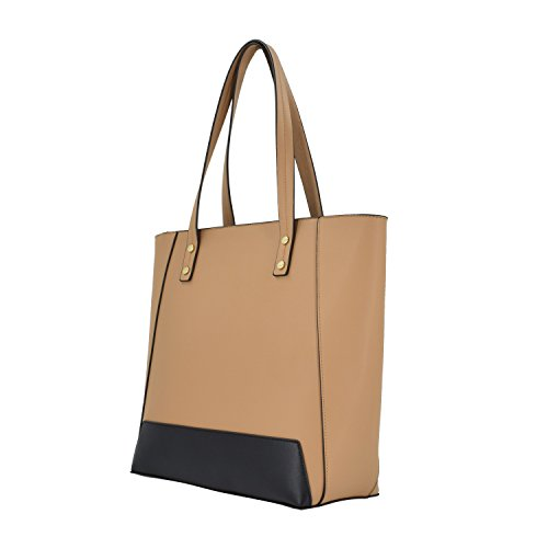 ESA Womens Tote Shoulder Handbags PU Leather Satchel Top handle Purse with Top Zip (Tan mix) by E.S.A. (Image #1)