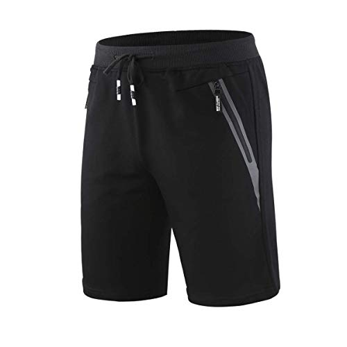 0f49620613bb CLOUSPO Gym Shorts Men Breathable Quick Dry Workout Athletic Running Sports  Shorts with Zipper Pockets (Black, CA M)