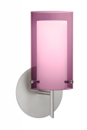 (Besa Lighting 1SW-A44007-SN 1X40W G9 Pahu 4 Wall Lighting Fixture with Transparent Amethyst/Opal Glass, Satin Nickel Finish )
