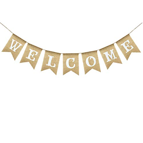 Uniwish Welcome Banner Sign Garland Wedding Baby Shower Classroom Party Decorations Vintage Rustic Burlap Hanging Bunting Home Décor