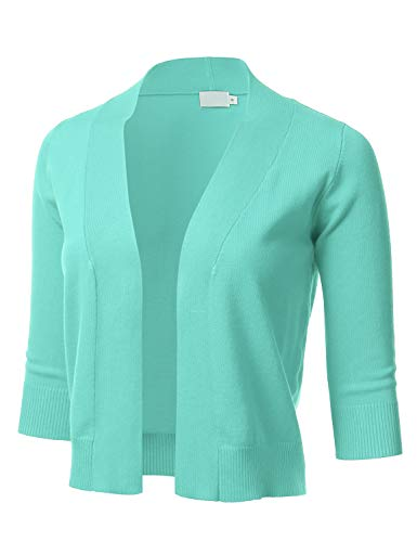 Women's Classic 3/4 Sleeve Open Front Cropped Cardigan Mint S