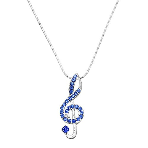 (Liavy's Treble Clef Musical Note Charm Pendant Fashionable Necklace - Sparkling Crystal - 17