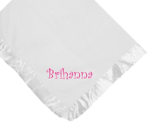 Custom Embroidered Monogrammed Girl Name White Fleece Personalized Baby Blanket (Blanket Baby Embroidered Fleece)