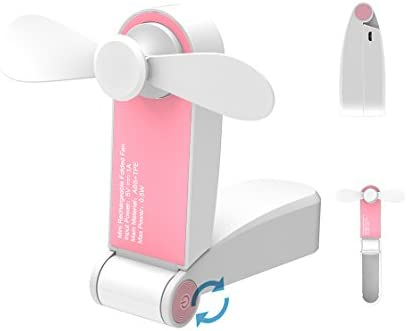 GREENIC Portable Mini Fan, Personal Handheld USB Powered Fan for Outdoor Travel Office, Pink