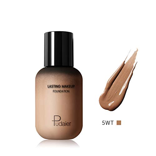 Pudaier Lasting Makeup Foundation - Face&Body Liquid Foundation Lightweight Bottle Full Coverage Invisible Pores Covering Blemishes - for All Skin Types (40 mL) (Best Body Makeup For Scars)