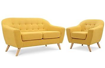 ensemble canap 2 places fauteuil scandinave jaune moutarde - Fauteuil Scandinave Moutarde