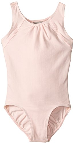Danskin Big Girls' Scoop Neck Leotard With Shirring and Open Back Detail, Petal Pink, Intermediate