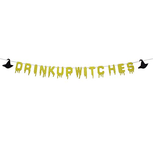 MAGQOO Gold Glitter Drink Up Witches Banner -Halloween Party Decoration Supplies]()