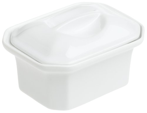 Pillivuyt Oblong Faceted Casserole with Lid, 5-3/4 by 4-Inch, White