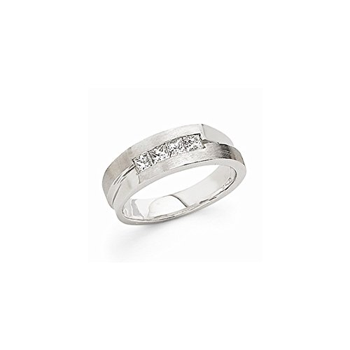 JewelrySuperMart Collection 5/8 CT 14k White Gold AA Diamond Men's Band. 0.68 ctw. Size 14.5