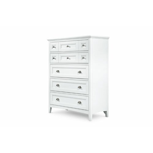 Kentwood Wood - MagnussenB1475 Kentwood Painted White Finish with Brushed Nickel Hardware Wood Drawer Chest