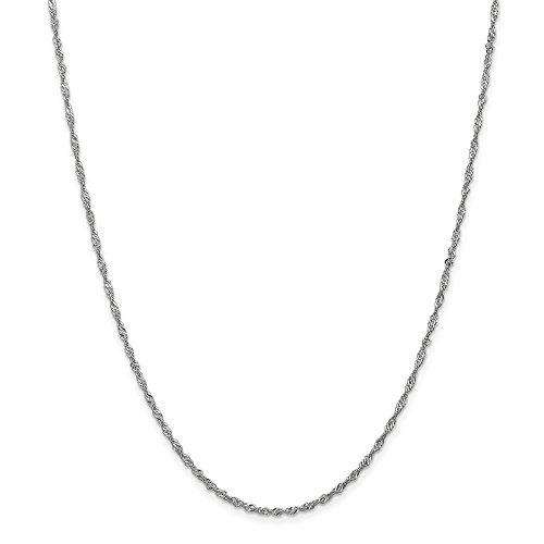 14k Gold Solid Diamond-Cut Singapore Chain Necklace with Lobster Clasp (1.6mm) - White-Gold, 20 in