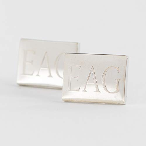 Rectangular Cufflinks With Initials Engraved in Stainless Steel - Cufflinks Rectangular Steel