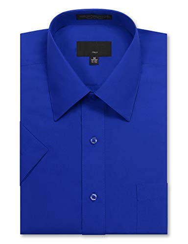 JD Apparel Men's Regular Fit Short Sleeve Dress Shirts 17-17.5N X-Large Royal Blue