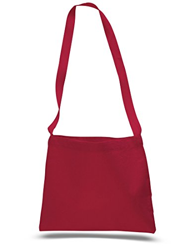 Cross Body Canvas Totes Small Messenger Tote Bags Long Shoulder Straps (Set of 1, Red) Reinforced Shoulder Straps