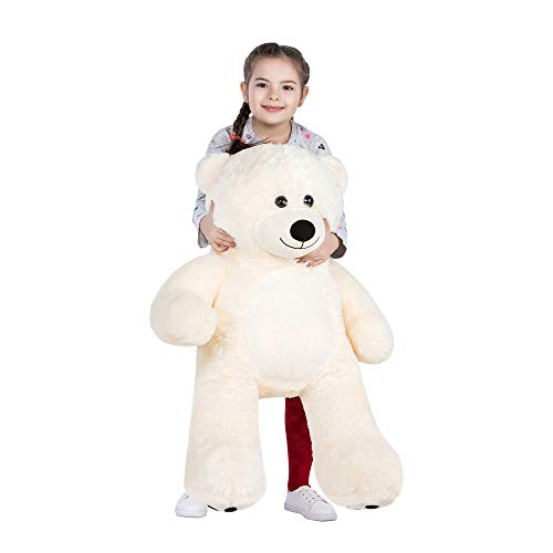 WOWMAX Cuddly Giant Teddy Bear Stuffed Plush Animals Daney 3 Foot Teddy Bear Toy Doll for Valentine's Day Birthday Gift Ivory 36 Inches