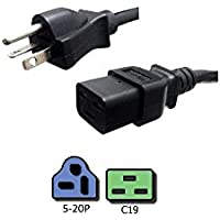 NEMA 5-20P to C19 Power Cord, 8 Foot - 20A/125V, 12/3 SJT - Iron Box # IBX-4929-08M