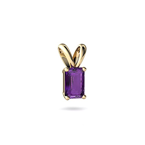 14kt Yellow Gold Amethyst 6x4mm Emerald_Cut Solitaire Pendant