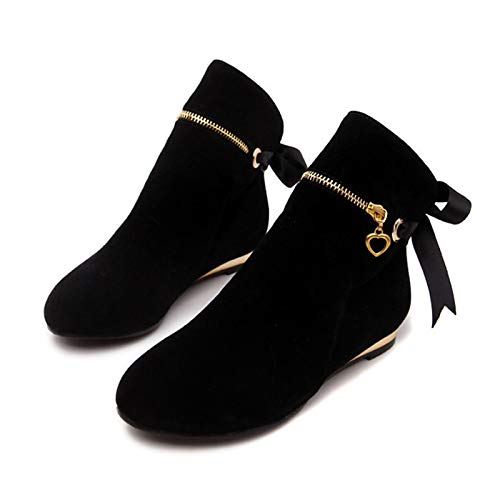 Black US5   EU35   UK3   CN34 Black US5   EU35   UK3   CN34 Women's Bootie Suede Spring &Fall Boots Flat Heel Round Toe Booties Ankle Boots Yellow Red   Green