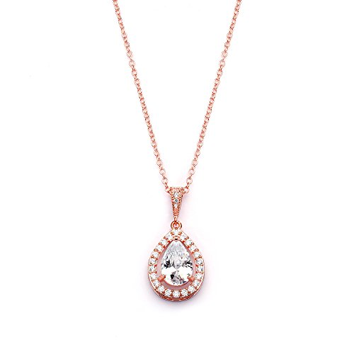 Mariell CZ Bridal Necklace Pendant with Pave Frame Halo and Pear-Shaped Teardrop 14K Rose Gold Plating