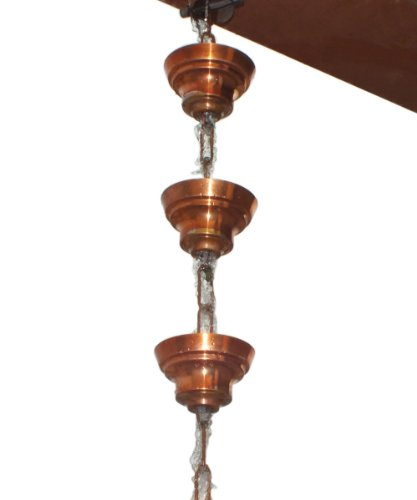 Monarch Pure Copper Tranquility Link Rain Chain, 8-1/2-Feet (Japanese Rain Chains)