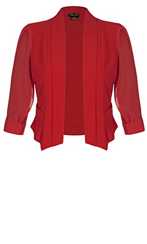 Designer Plus Size JKT CROPPED BLAZER - Red - 22 / XL | City Chic