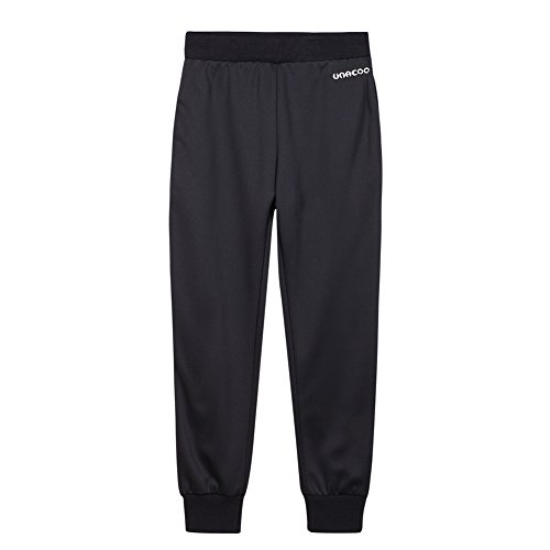 UNACOO Boys Active Basic Jogger Breathable Fleece Lined Pants (Black, m(7-8T)) ()