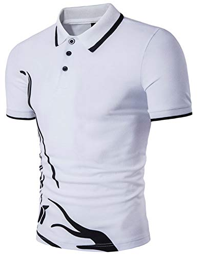 (MODCHOK Mens Printing Polo Shirt Button Short Sleeve T Shirt Summer Top Blouse Slim Fit 1 White M)