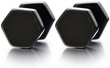 1 Paar 4-8MM Schwarz Hexagon Herren Damen Ohrstecker Ohrringe Fakeplugs Fake Ohr-Plug Tunnel Gauges Ohr-Piercing Edelstahl