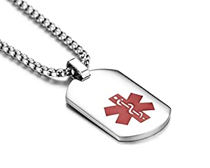 JF.JEWELRY Arc Surface Stainless Steel Medical ID Alert Necklace for Men & Women,Free Engraving