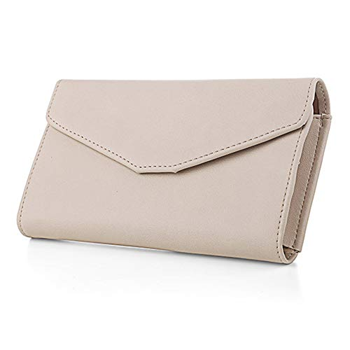 - Women's Large Capacity Envelope Wristlet Passport Phone Holder Clutch Wallet (Beige)